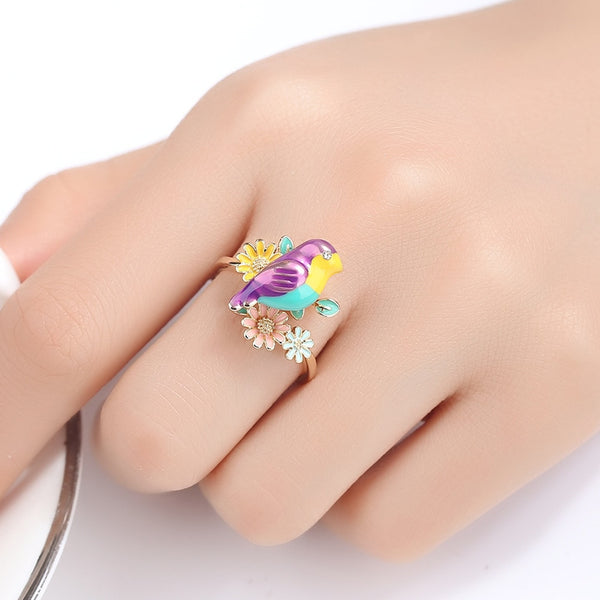 Colorful Cute Parrot Pink Flower Cocktail Ring Resizable Golden