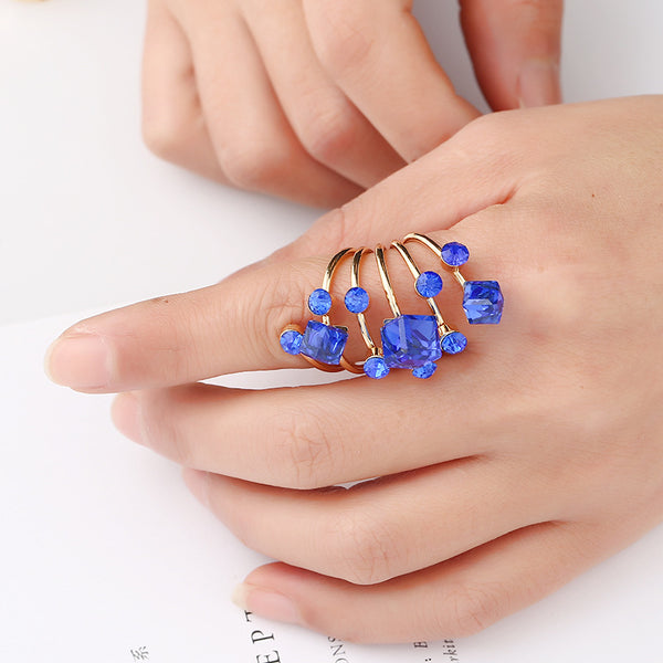 Crystal Zircon Cocktail Ring Long Spiral Design Adjustable - 5 Colors