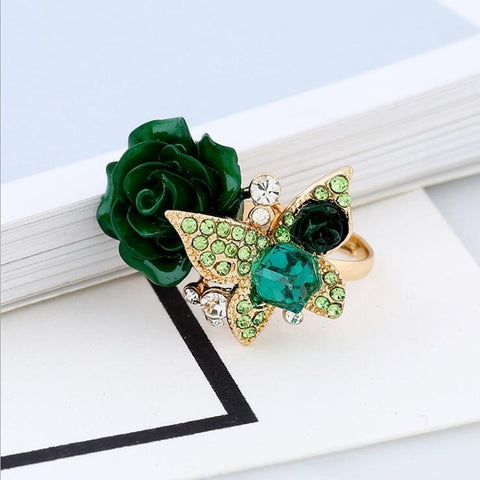 Colorful Resin Flower Cocktail Ring Resizable Gothic Crystal - 6 Colors