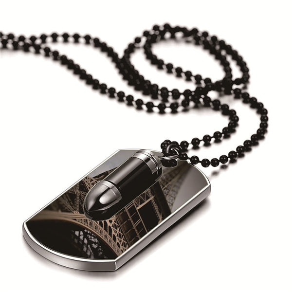 Men Army Style Bullet and Tag Pendant Man Necklace Black Silver Color 27 inch Chain Unique Design