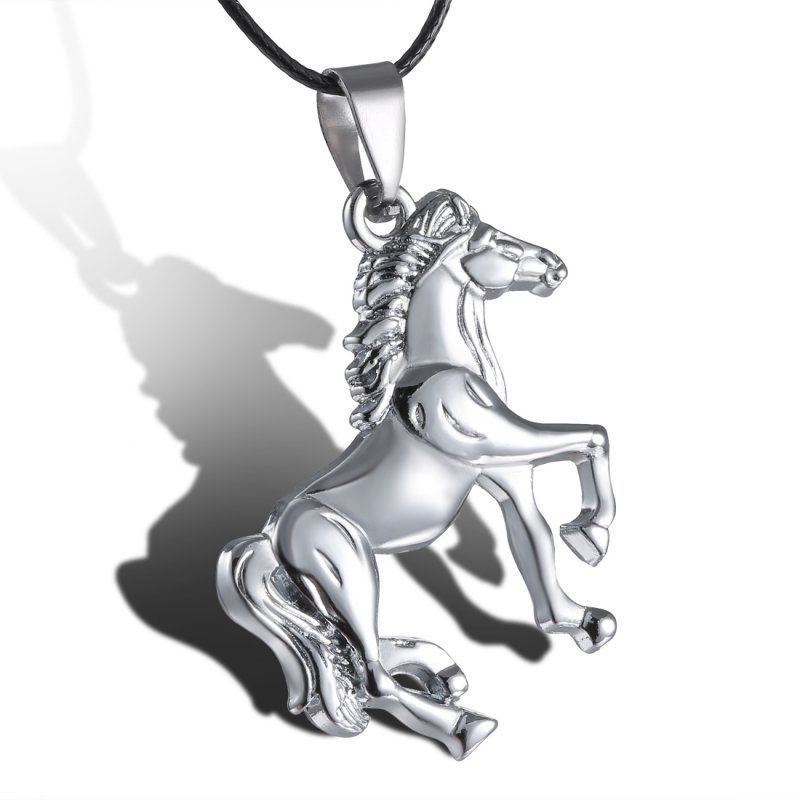 Running Horse Silver Plated Pendant with Leather Rope Chain