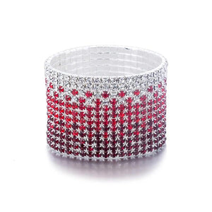 Crystal Rhinestone Bracelet Bangle Silver Plated Stretchable Bracelet for Women