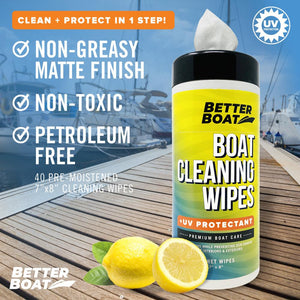 Boat Cleaner Wipes With UV smells like lemon