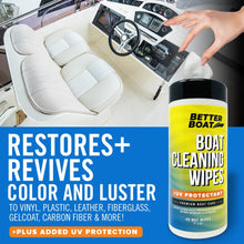 Load image into Gallery viewer, Boat Cleaner Wipes With UV on interior car and boat