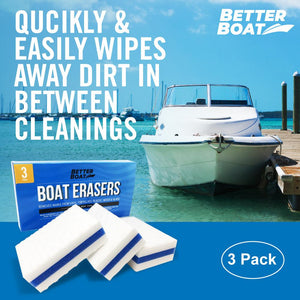 Boat Scuff Erasers shown with Boat on Dock
