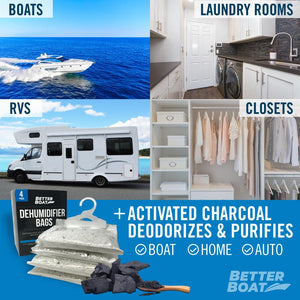 Four Pack Boat Dehumidifier Hanging Bags In RV closet Laundy