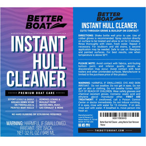 Instant Boat Hull Cleaner Label and Directions
