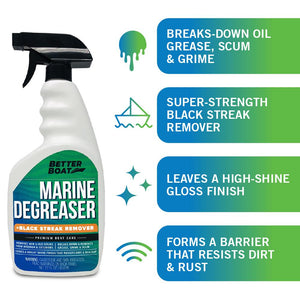 Marine Degreaser Black Streak Remover breaks down oil