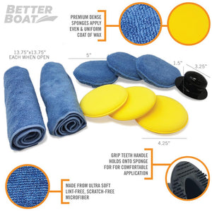 Microfiber Wax Applicator Set Dimensions and Contents