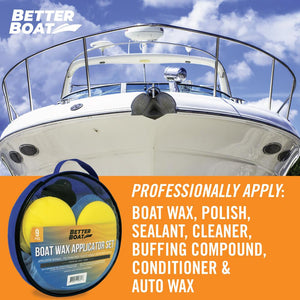 Microfiber Wax Applicator Set Applying to Hull of Boat