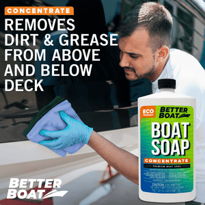 Premium Boat Soap Concentrate on fiberglass boat