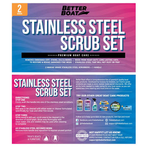 Stainless Steel Scrub Set For Teak Decks Wit Handle Box and Directions