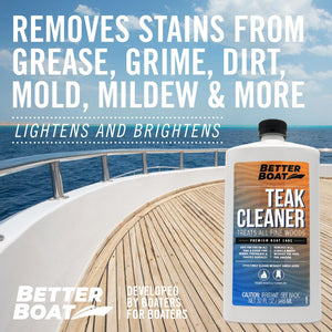 Teak Cleaner on Front of Boat Deck