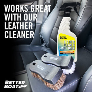 Upholstery Brush Set with leather cleaner and conditioner