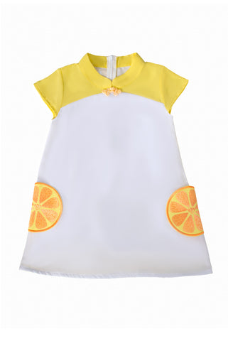 CNY Edition - Mini Dress with Orange Pockets and Mandarin Collar (Yellow) - MILLAROLLA