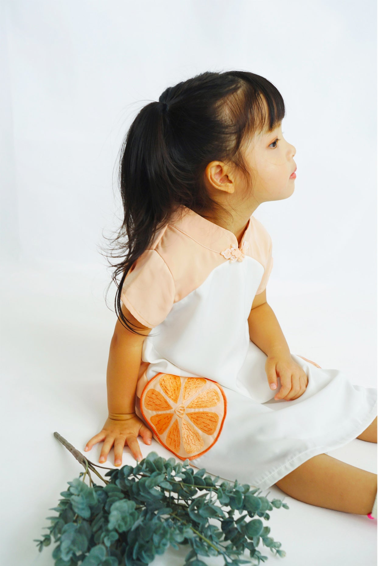 CNY Edition - Mini Dress with Orange Pockets and Mandarin Collar (Pink) - MILLAROLLA