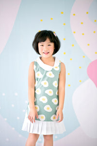 Egg-venture Dress with Pleated Skirt (Green) - MILLAROLLA