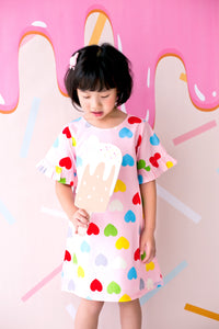Non Stretchable Mini Dress With Sleeves Pleats Hearts Print in Pink - MILLAROLLA