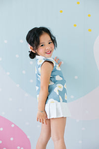 Egg-venture Dress with Pleated Skirt (Blue) - MILLAROLLA