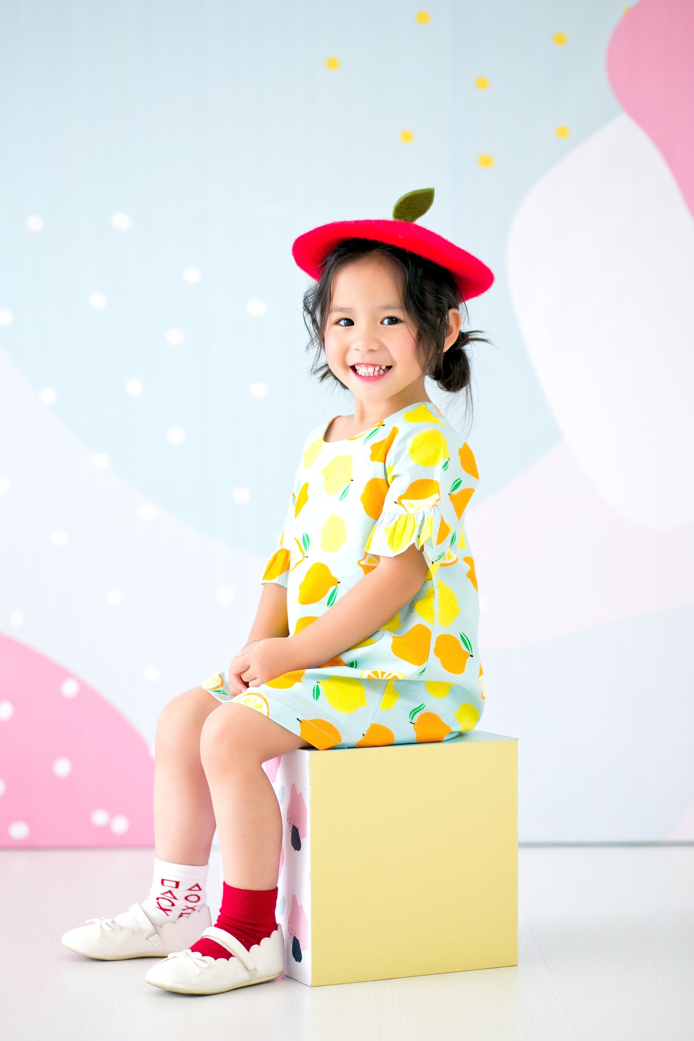 Non Stretchable Mini Dress With Sleeves Pleats (Fruit) - MILLAROLLA