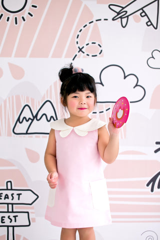 Quirky Mini Dress with Butterfly Collars (Pink) - MILLAROLLA