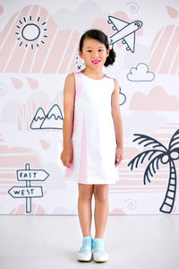 Stacking Circles Sleeveless Dress with Ribbon Shoulder Details (Pink) - MILLAROLLA