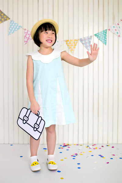 Sleeveless Dress with Scallop Collar (Mint) - MILLAROLLA