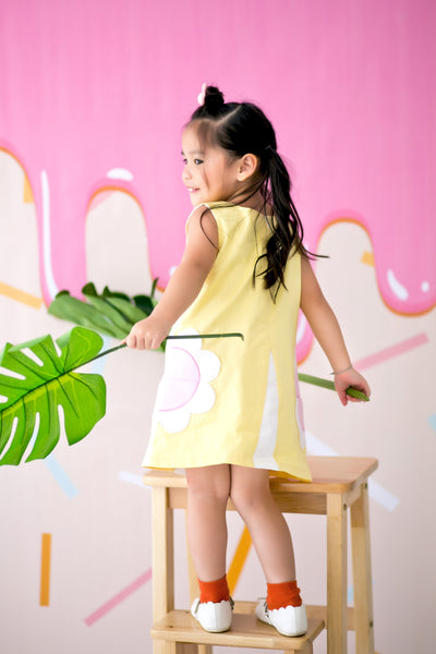 Pincord Dress with Daisy Pockets (Yellow) - MILLAROLLA