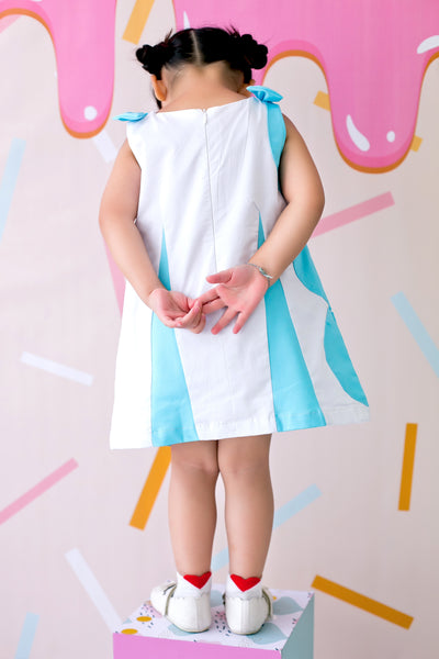 Stacking Circles Sleeveless Dress with Ribbon Shoulder Details (Blue) - MILLAROLLA