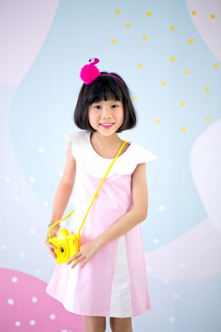 Sleeveless Dress with Scallop Collar (Pink) - MILLAROLLA