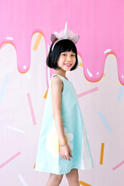 Pincord Dress with Daisy Pockets (Mint) - MILLAROLLA