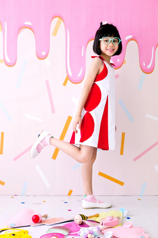 Stacking Circles Sleeveless Dress with Ribbon Shoulder Details (Red) - MILLAROLLA