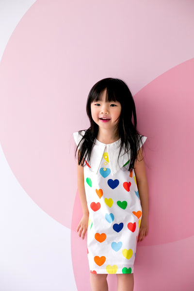 Playdress with Oversized Collar Hearts Print in White - MILLAROLLA