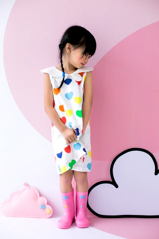 Quirky Mini Dress with Butterfly Collars Hearts Print in White - MILLAROLLA