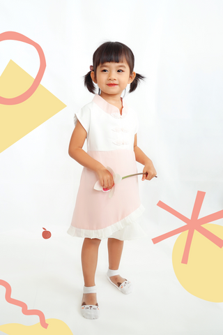 CNY Edition - Mini Dress with Chinese Buttons and Mandarin Collar (Pink) - MILLAROLLA