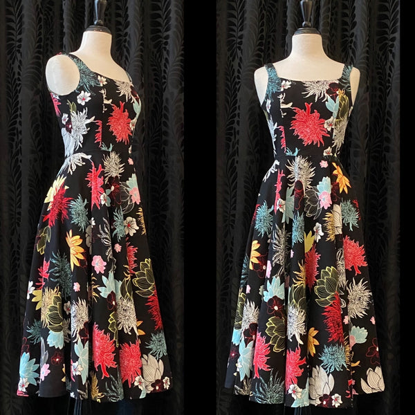 Pamela Dress- Tea Length Chrysanthemum Print
