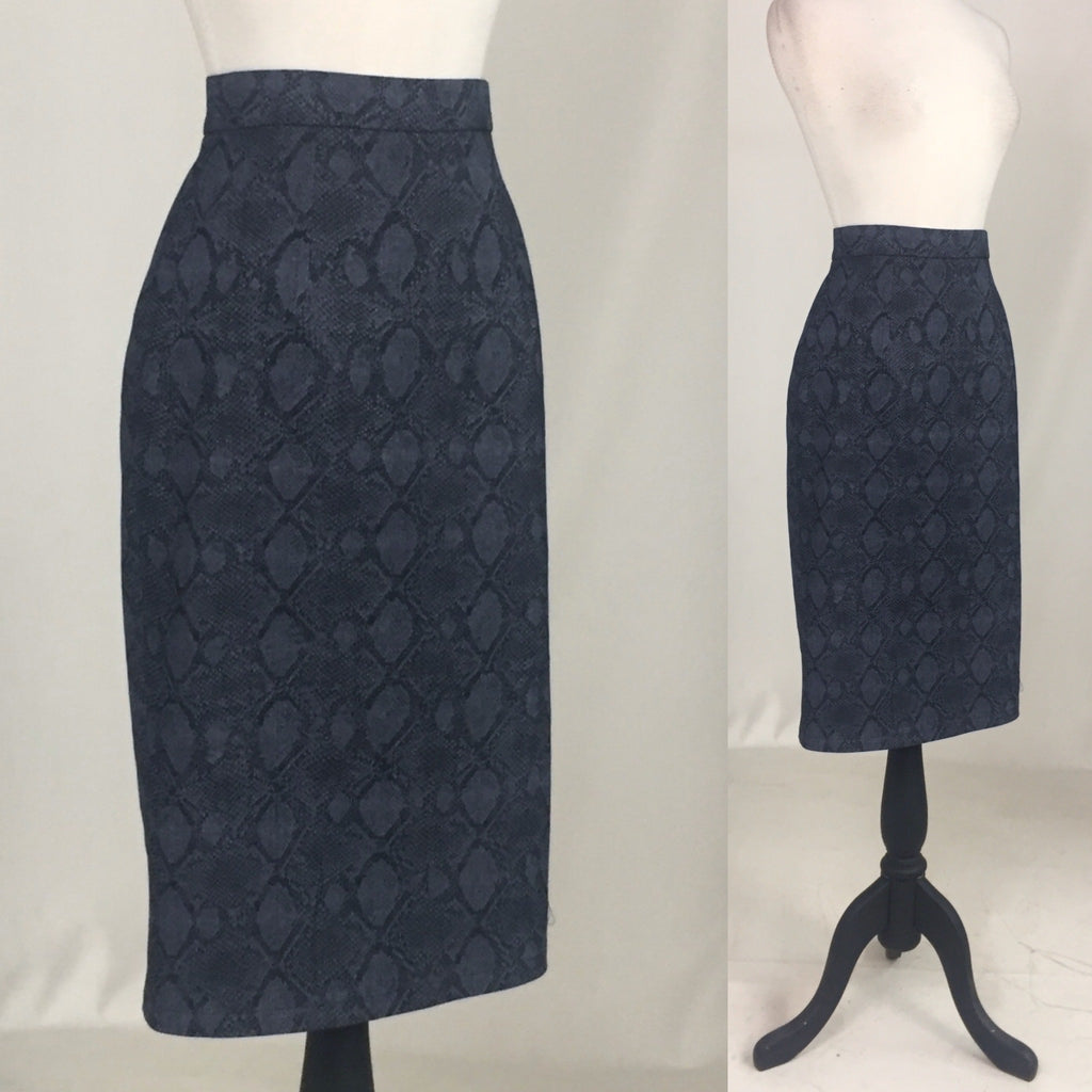 Snake Denim Pencil Skirt