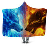 ICE FIRE WOLF HOODED BLANKET