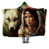 INDIAN AND WOLF HOODED BLANKET