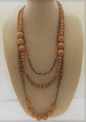 Tan/Blue Wooden Beaded Necklace