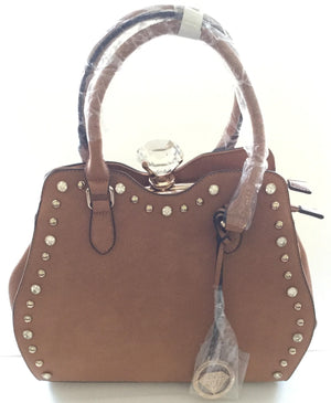 Jewel Top Tan Purse