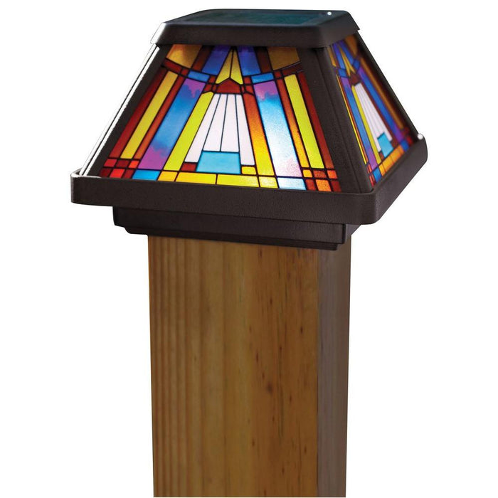 Moonrays Inglenook Solar Multi-Color Outdoor Integrated LED Post Cap Deck Light
