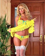Magic Silk BUTTERCUP COLLECTION BABYDOLL CHEMISE & CUTOUT PANTY YELLOW FLORAL LINGERIE SET