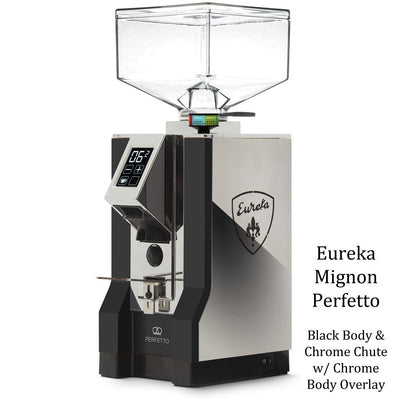 Eureka Mignon Perfetto - Black Body & Chrome Overlay Chrome Chute