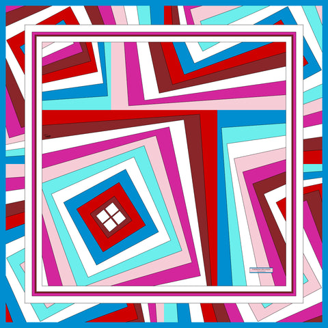 Twisted Squares Blue Red Pink Silk Scarf 43 | THERESA DELGADO