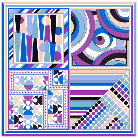 Multi Print Purple Blue Periwinkle Silk Scarf 43 | THERESA DELGADO