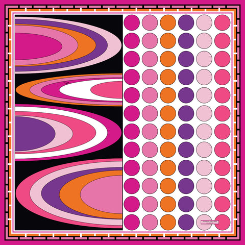 Swirl Dots Pink Orange Purple Silk Scarf 43 | THERESA DELGADO