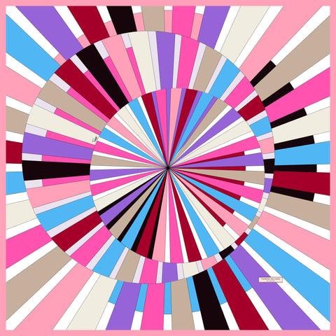 Spinning Circles Pink Red Purple Blue Silk Scarf 43 | THERESA DELGADO