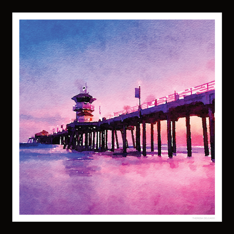 Huntington Beach Pier Watercolor Scarf 35 | THERESA DELGADO