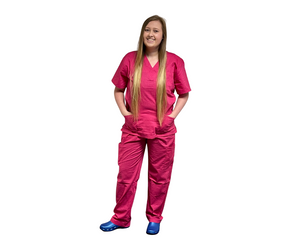 Scrubs UK Premium Unisex Medical Scrubs Suit Set of tunic and trousers - Fushcia